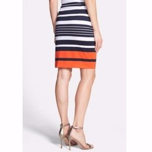 MICHAEL KORS Striped Navy & Orange Pencil Skirt 16